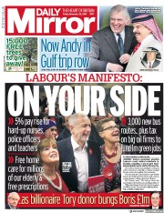 Daily Mirror (UK) Newspaper Front Page for 22 November 2019