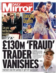 Daily Mirror (UK) Newspaper Front Page for 22 December 2014