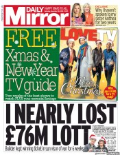 Daily Mirror (UK) Newspaper Front Page for 22 December 2018