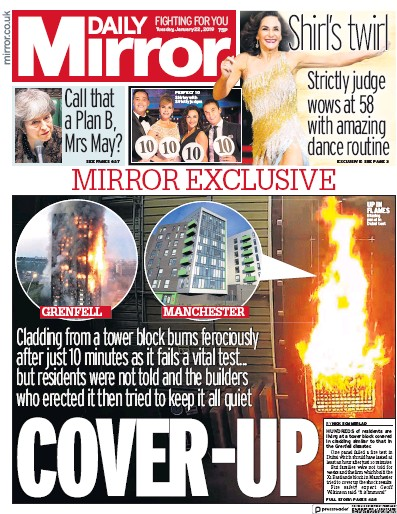Daily Mirror Newspaper Front Page (UK) for 22 January 2019