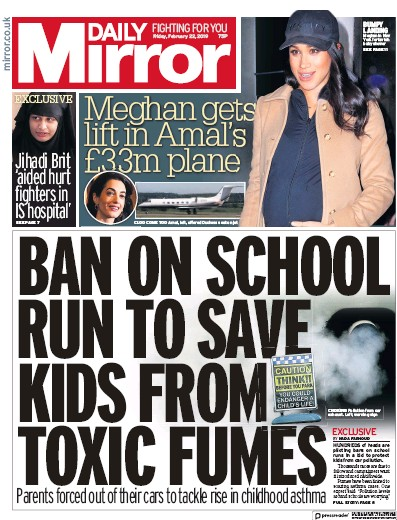 Daily Mirror Newspaper Front Page (UK) for 22 February 2019