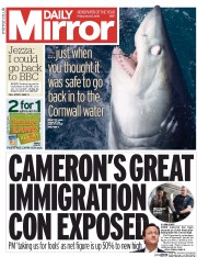 Daily Mirror (UK) Newspaper Front Page for 22 May 2015