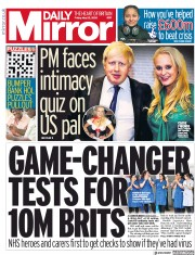 Daily Mirror front page for 22 May 2020