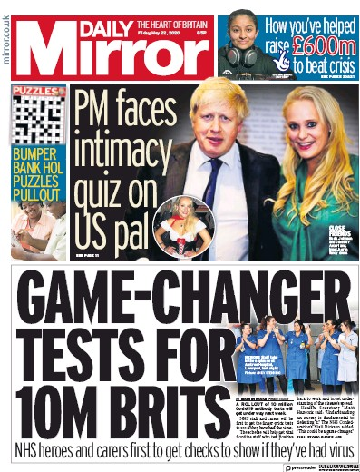 Daily Mirror Newspaper Front Page (UK) for 22 May 2020