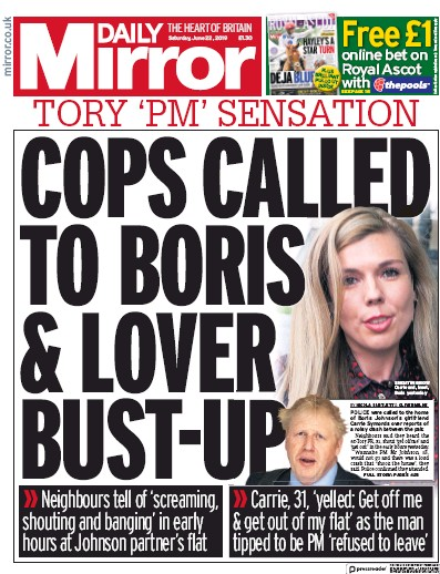 Daily Mirror Newspaper Front Page (UK) for 22 June 2019