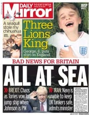 Daily Mirror (UK) Newspaper Front Page for 22 July 2019