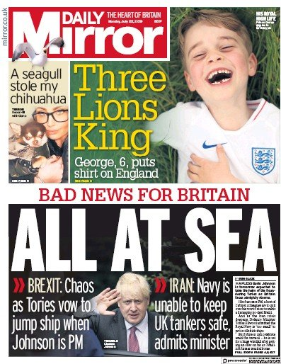 Daily Mirror Newspaper Front Page (UK) for 22 July 2019