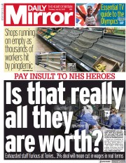 Daily Mirror () Newspaper Front Page for 22 July 2021