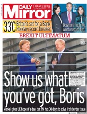 Daily Mirror () Newspaper Front Page for 22 August 2019