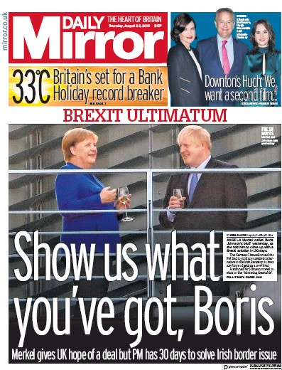 Daily Mirror Newspaper Front Page (UK) for 22 August 2019