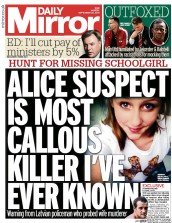 Daily Mirror (UK) Newspaper Front Page for 22 September 2014
