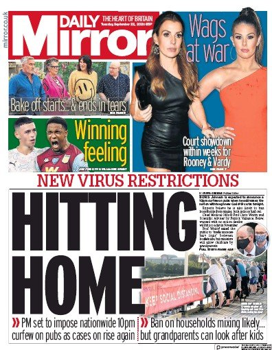 Daily Mirror Newspaper Front Page (UK) for 22 September 2020