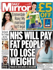 Daily Mirror (UK) Newspaper Front Page for 23 October 2014
