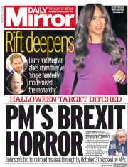 Daily Mirror (UK) Newspaper Front Page for 23 October 2019