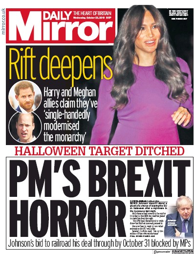 Daily Mirror Newspaper Front Page (UK) for 23 October 2019