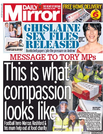 Daily Mirror Newspaper Front Page (UK) for 23 October 2020