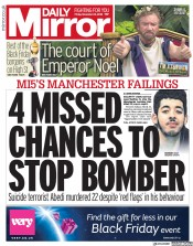 Daily Mirror (UK) Newspaper Front Page for 23 November 2018