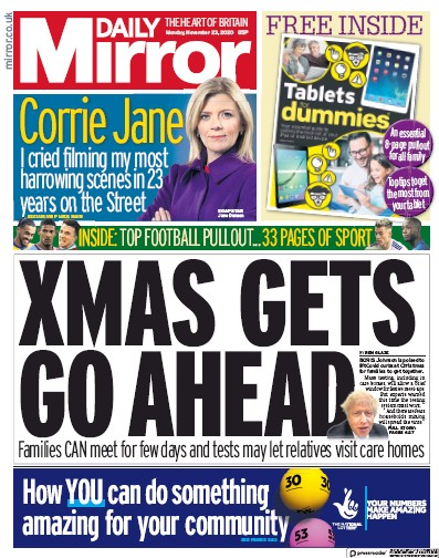 Daily Mirror Newspaper Front Page (UK) for 23 November 2020