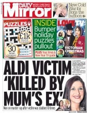 Daily Mirror (UK) Newspaper Front Page for 23 December 2017