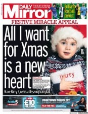 Daily Mirror () Newspaper Front Page for 23 December 2019