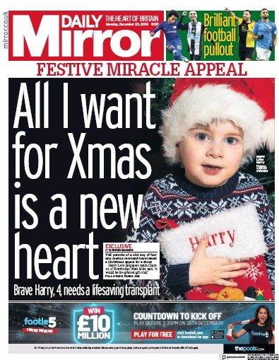 Daily Mirror Newspaper Front Page (UK) for 23 December 2019