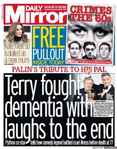 Daily Mirror Newspaper Front Page (UK) for 23 January 2020