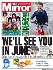 Daily Mirror front page for 23 April 2021