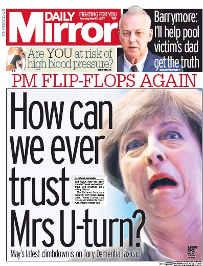 Daily Mirror () Newspaper Front Page for 23 May 2017