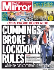 Daily Mirror front page for 23 May 2020