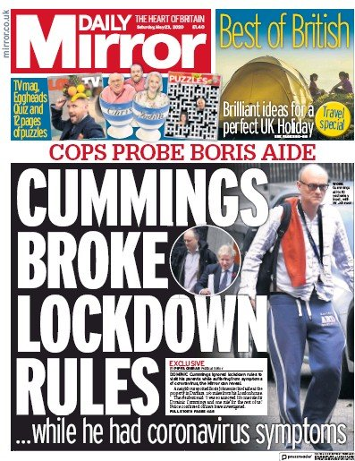 Daily Mirror Newspaper Front Page (UK) for 23 May 2020