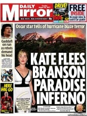 Daily Mirror Newspaper Front Page (UK) for 23 August 2011