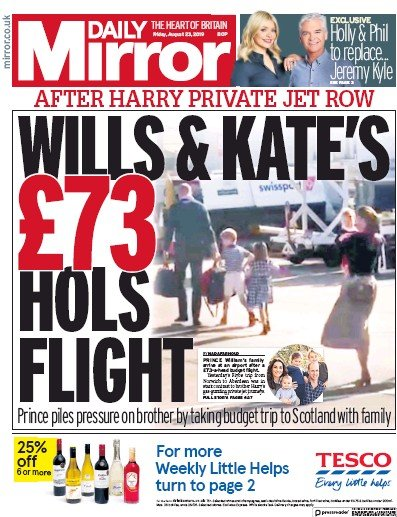 Daily Mirror Newspaper Front Page (UK) for 23 August 2019