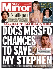 Daily Mirror (UK) Newspaper Front Page for 23 September 2014