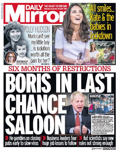 Daily Mirror Newspaper Front Page (UK) for 23 September 2020