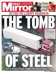 Daily Mirror (UK) Newspaper Front Page for 24 October 2019