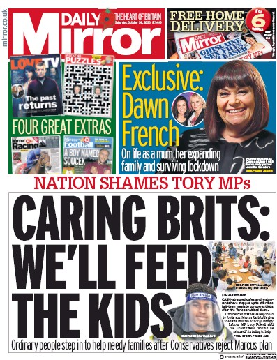 Daily Mirror Newspaper Front Page (UK) for 24 October 2020