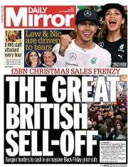 Daily Mirror (UK) Newspaper Front Page for 24 November 2014