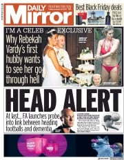 Daily Mirror (UK) Newspaper Front Page for 24 November 2017