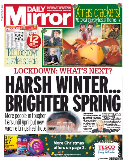 Daily Mirror Newspaper Front Page (UK) for 24 November 2020