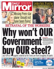 Daily Mirror () Newspaper Front Page for 24 January 2019
