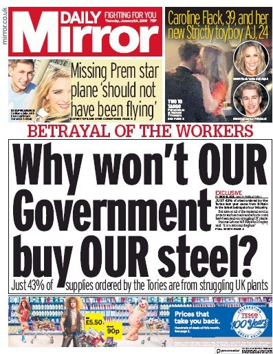 Daily Mirror Newspaper Front Page (UK) for 24 January 2019