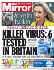 Daily Mirror (UK) Newspaper Front Page for 24 January 2020
