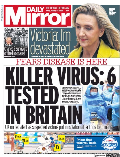 Daily Mirror Newspaper Front Page (UK) for 24 January 2020