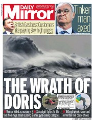 Daily Mirror (UK) Newspaper Front Page for 24 February 2017