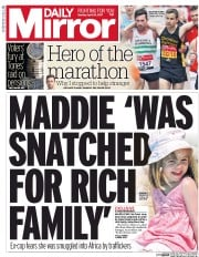 Daily Mirror (UK) Newspaper Front Page for 24 April 2017