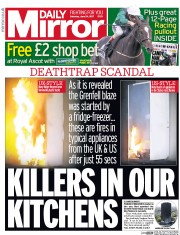 Daily Mirror (UK) Newspaper Front Page for 24 June 2017