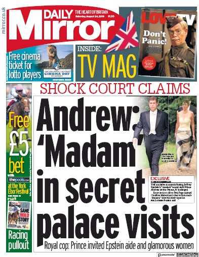 Daily Mirror Newspaper Front Page (UK) for 24 August 2019
