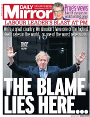 Daily Mirror front page for 24 September 2020
