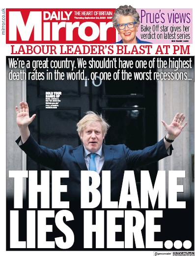 Daily Mirror Newspaper Front Page (UK) for 24 September 2020