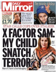 Daily Mirror (UK) Newspaper Front Page for 25 October 2014